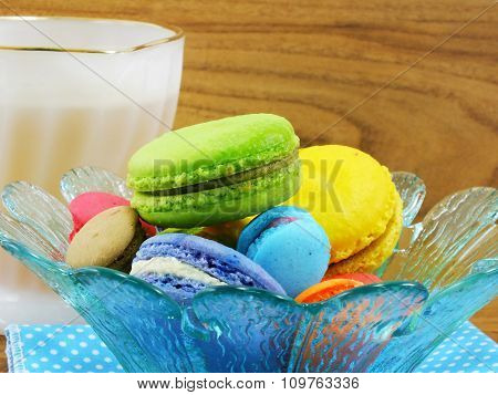 Traditional French Colorful Macaroon With Tea