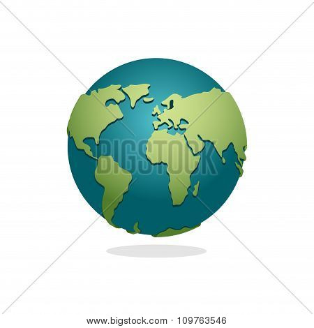 Earth Planet. Sign Of Globe. Space Earth On White Background. World Globe Map. Continents And Oceans