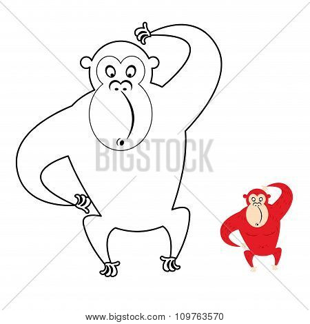 Monkey Coloring Book. Red Monkey Makes Surprise Muzzle. Funny Primacy Of Symbol Of Chinese New Year.