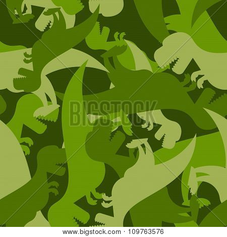 Military Pattern Dinosaur. Army Texture Of Tyrannosaurus. Camo Background Of T-rex. Soldier Ornament