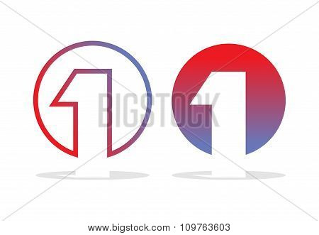 Number One Logo. Figure 1 Emblem For Company. Design Template Elements For Business Concepts.