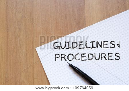 Guidelines And Procedures Write On Notebook