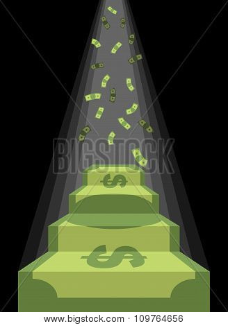Pedestal Out Of Money. Ladder To Wealth Of Dollars. Rain Of Cash. Podium Illuminated By Light. Busin