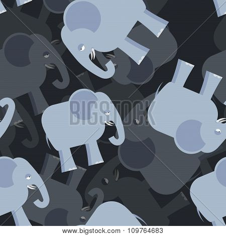 Elephant Seamless Pattern. 3D Background Of Elephants. Texture Of An Animal From Jungle. Ornament Fo