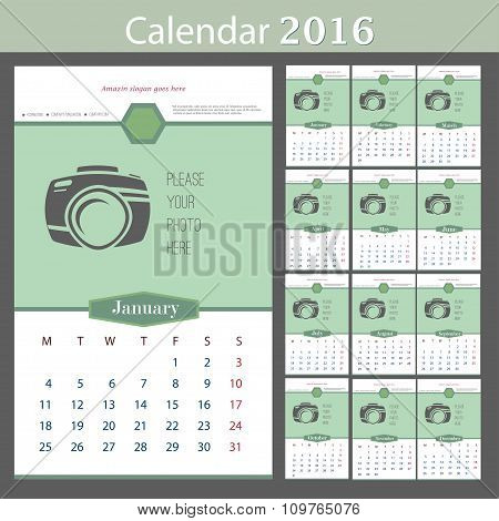 Wall Calendar 2016. Vector Template with Place for Photo. 12 Months.