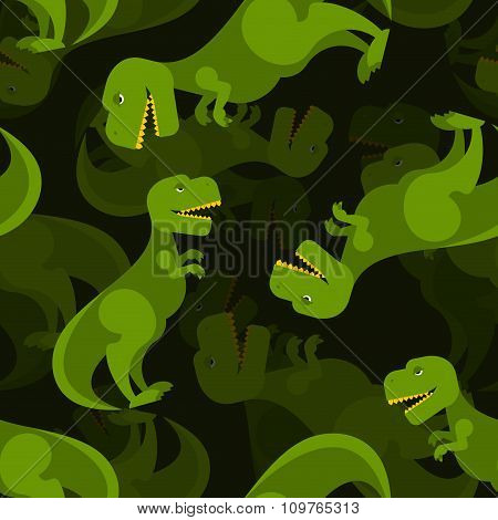 Dinosaur 3D Background. Tyrannosaurus Seamless Pattern. Prehistoric Predator Ornament For Baby Tissu