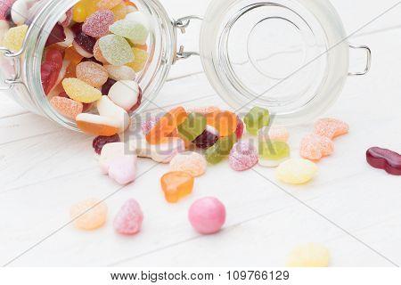 Candies Spilled From A Jar