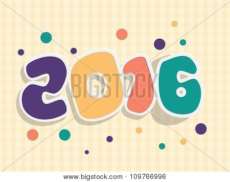 Stylish colorful text 2016 on shiny background for Happy New Year celebration.
