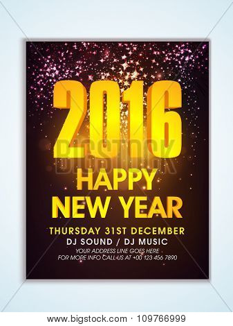Shiny creative Flyer, Banner or Pamphlet design with golden text Happy New Year 2016.