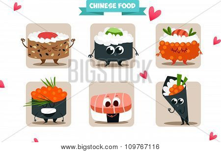 Funny characters of Japanese food. Postcard Valentine's Day. Illustration with funny characters.