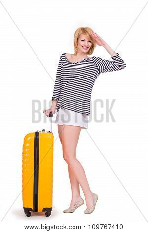 Young happy woman having smiling and holding travel case.