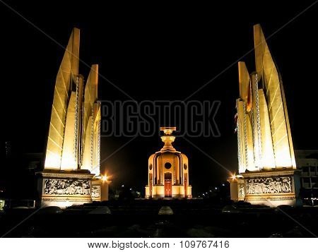 Democracy Monument In The Night Time - Bangkok, Thailand