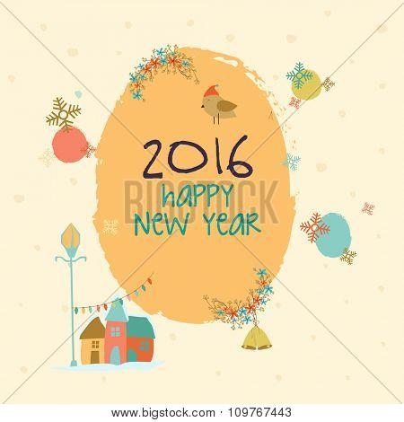 Elegant creative greeting card design with various elements for Happy New Year celebration.