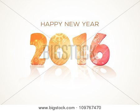 Shiny snowflakes decorated stylish text 2016 on glossy background for Happy New Year celebration.