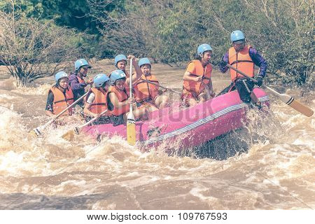 Phitsanulok, Thailand - August 21: Rafting On The River Khek On August 21, 2005 In Phitsanulok. The