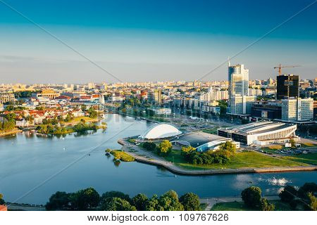 Cityscape of Minsk, Belarus. Summer season, sunset time