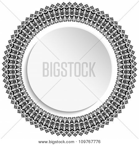 Floral Vector Ornament With Volume Place For Text