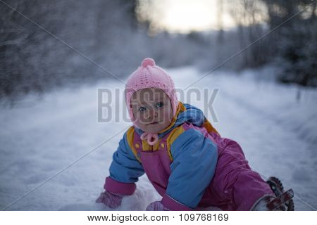 Baby Girl Crawling In Snow