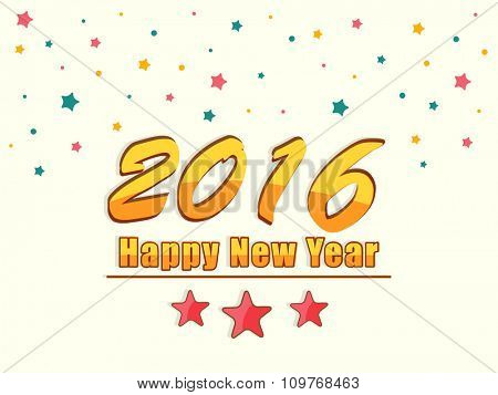 Stylish text 2016 on colorful stars decorated background for Happy New Year celebration.