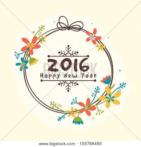Colorful flowers decorated greeting card design for Happy New Year 2016 celebration.