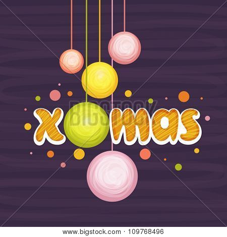 Stylish text Xmas with colorful Balls on purple background for Merry Christmas celebration.