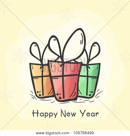 Colorful creative gifts decorated greeting card design for Happy New Year celebration.