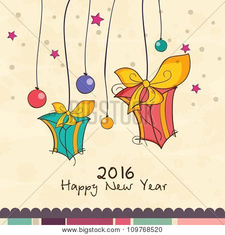 Elegant greeting card design with hanging gifts and colorful balls for Happy New Year 2016 celebration.