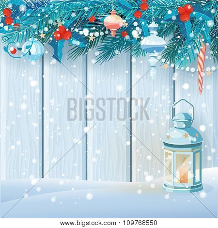 Christmas card with fir branches, mistletoe and lantern. Vector illustration.