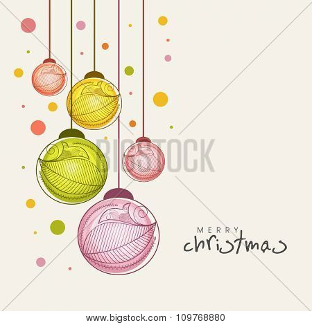 Colorful Xmas Balls decorated greeting card for Merry Christmas celebration.