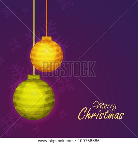 Greeting card with hanging Xmas Balls on glossy Snowflakes decorated purple background for Merry Christmas celebration.