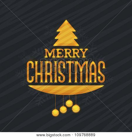 Elegant greeting card design with stylish text Merry Christmas and ornaments on snowflakes decorated background.