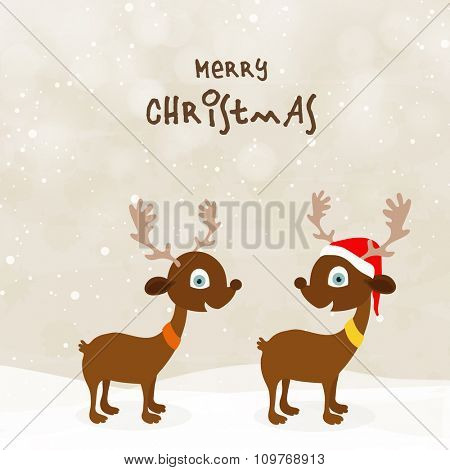 Cute Reindeers couple in Santa cap on shiny winter background for Merry Christmas celebration.