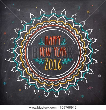 Creative floral design decorated greeting card in chalkboard style for Happy New Year 2016 celebration.