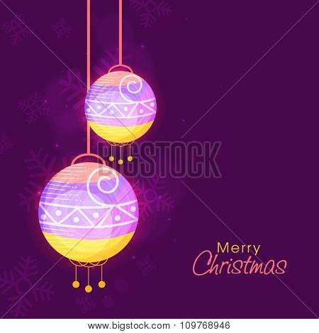 Beautiful greeting card design with colorful Xmas Balls on Snowflakes decorated purple background for Merry Christmas celebration.
