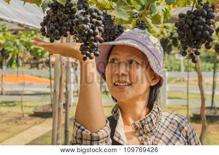 Woman With Grapes Outdoor