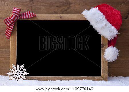 Christmas Blackboard, Santa Hat, Red Loop, Copy Space, Snow