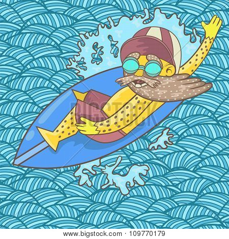 A Surfer With A Beard And Sunglasses Floats On The Surfing The Wave. Vector.