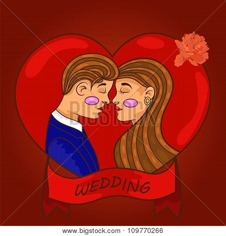 Newlyweds Couple In Love Looking At Each Other. Love.vector