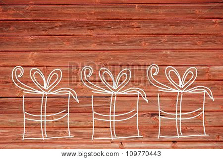 Concept Illustration Of Three Gifts, Copy Space, Wooden Background