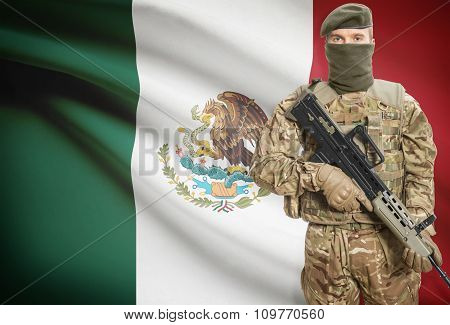 Soldier Holding Machine Gun With Flag On Background Series - Mexico