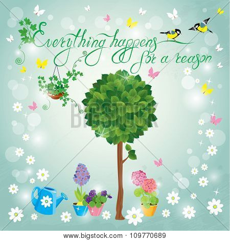 Image With Green Tree, Flowers In Pots And Birds On Sky Blue Background. Design For Birthday Invitat