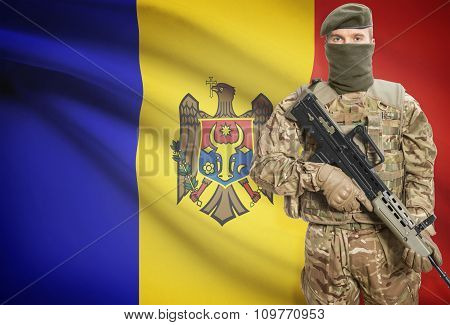 Soldier Holding Machine Gun With Flag On Background Series - Moldova