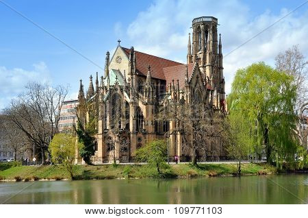 Gothic church in Stuttgart, Germany
