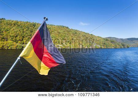 Rur Lake And German Flag
