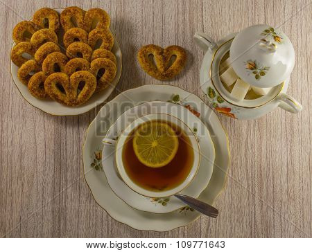 tea with lemon and sweets