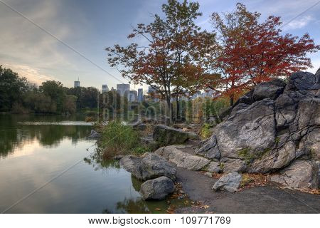 Central Park New York City at the lake in the early morning