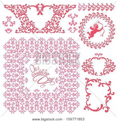 Wedding Invitation Set With Pink Floral Elements, Frames, Borders, Heart, Angel, Calligraphic Handwr