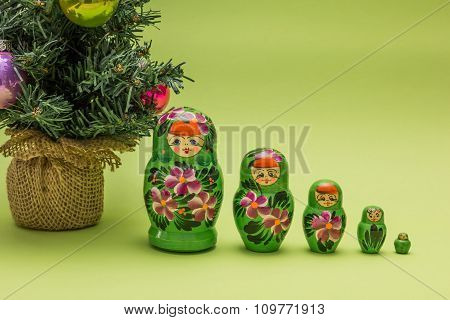 Russian Wooden Dolls And A Christmas Tree