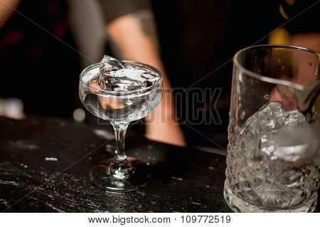 Champagne Glass  With Ice  And Transparent Drink