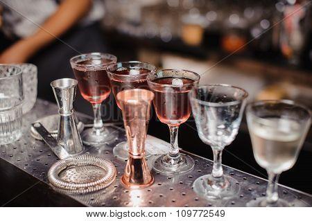 Different Cocktails Or Longdrinks In Bar